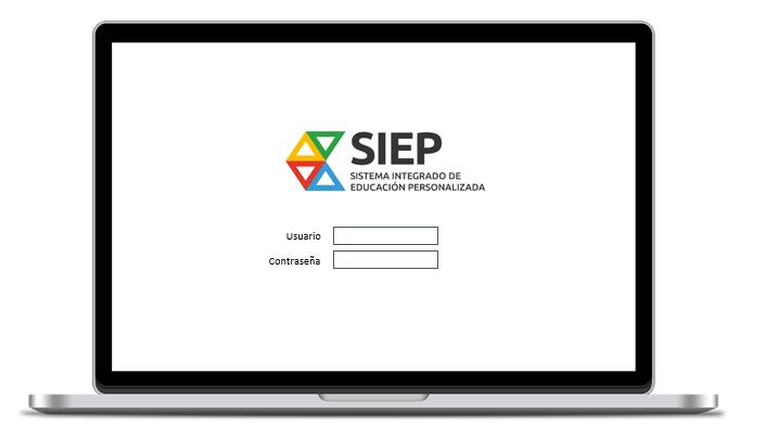 Portátil con la página de acceso a la aplicación SIEP